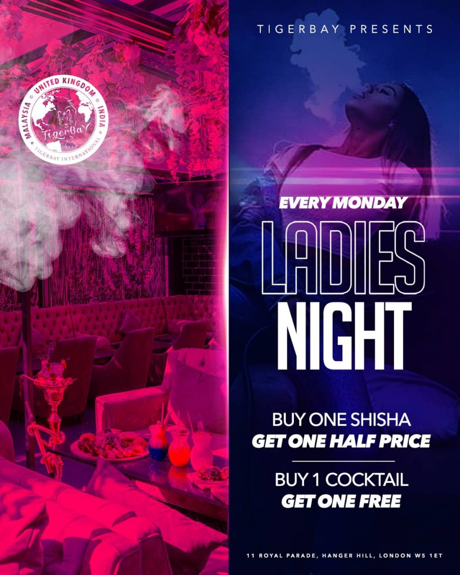 Ladies Night Every Monday! Half Price Shisha & Cocktails